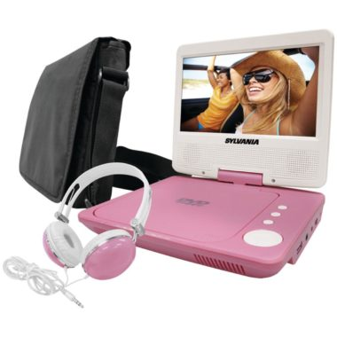 Sylvania SDVD7060-Combo-Pink 7-Inch Portable DVD Player Bundle