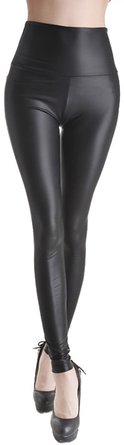 Stretch Faux Active Tights Leggings For Women Girls Juniors Pants (Small, Black)
