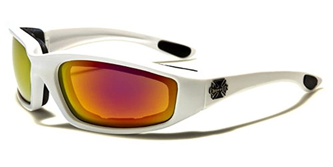 Night Driving Riding Padded Motorcycle Glasses 011 Black Frame with Yellow Lenses (White - Fire Lens)