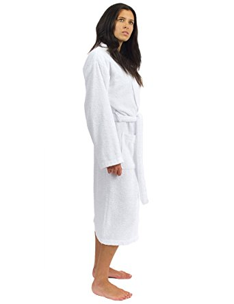 TowelSelections Terry Kimono Bathrobe - Terry Cloth Bath Robe for Women and Men, 100% Turkish Cotton, Made in Turkey (White, S/M)