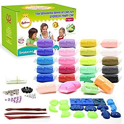 SySrion Air Dry Clay, 24 Colors Ultra Light Modeling Clay Magic Crafts Kit with Vegetables and Fruits Modes