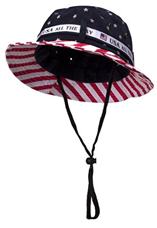 TopHeadwear Cotton Twill America BUCKET HAT W/ USA FLAG - Small/Medium