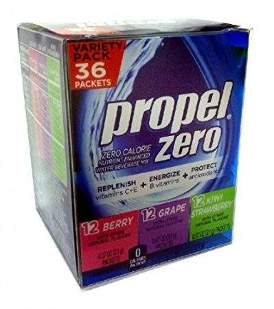 Propel Zero Calorie Nutrient Enhanced Water Beverage Mix Variety Pack 36 Packets 3 different flavors(berry, grape & kiwi strawberry) 2.5oz