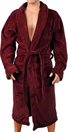 Mens New Burgundy Micro Fleece Bathrobe by Wanted Large/X-Large