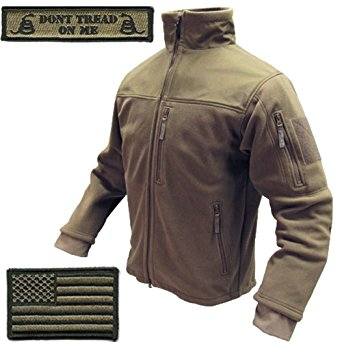 Condor Tac-Jacket (Coyote-Large) & USA Flag & Dont Tread Patch - 3 Item-Bundle