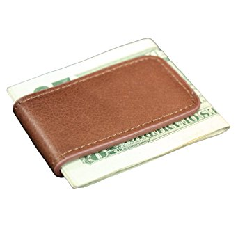 Tan Leather Magnetic Money Clip