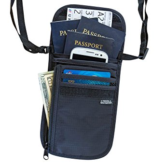 Travel Navigator Neck Wallet and Passport Holder with RFID Blocking - Black
