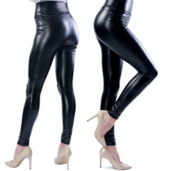 Ginasy Women's Slim Wet Look High Waist Thin Faux Leather Leggings - XX-Large