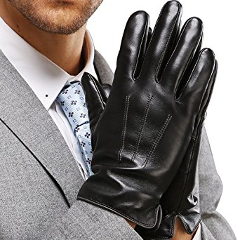 "Harrms Best Touchscreen Italian Nappa Genuine Leather Gloves for men's Texting Driving Cashmere Lining (M-8.5""(US Standard Size), BLACK(CASHMERE LINING ))"
