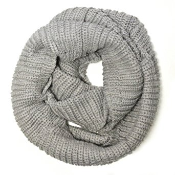 Wrapables Thick Knitted Winter Warm Infinity Scarf, Smoky Grey