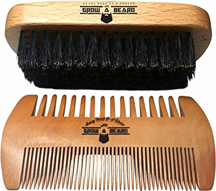 GrowABeard-Beard Brush and Comb Set for Men - Friendly Cotton Bag - Best Bamboo Beard Kit for Home and Travel - Great for Dry or Wet Beards - Adds Shine and Softness to Your Healthy and Cool Beard.