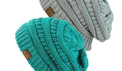 NYFASHION101 Exclusive Unisex Two Tone Warm Cable Knit Thick Slouch Beanie Cap (2 Tone Mint & 2 Tone Gray)