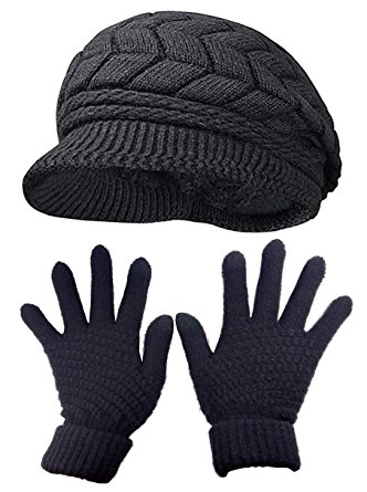 Women Fashion Hats and Winter Gloves Mittens Thick Knit Sport Cap Warm Hat Black