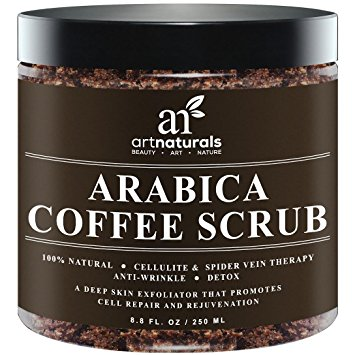 ArtNaturals Organic Arabica Coffee Scrub, The Most Powerful Remedy for Varicose Veins, Cellulite, Stretch Marks, Eczema and Acne, Deep Skin Exfoliator, 8.8 oz.