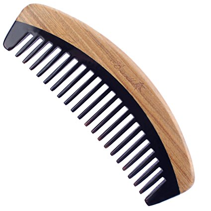 Breezelike Wide Tooth Hair Comb - No Static Handmade Wooden Detangling Comb - Natural Sandalwood Horn Comb with Premium Gift Box