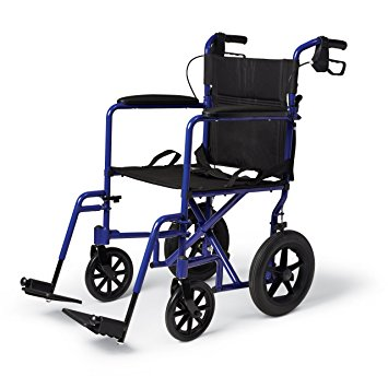 "Medline MDS808210ABE Aluminum Transport Chair with 12"" Wheels, Blue"