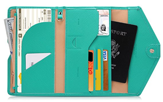 Zoppen Mulit-purpose Rfid Blocking Travel Passport Wallet (Ver.4) Trifold Document Organizer Holder, Baby Green