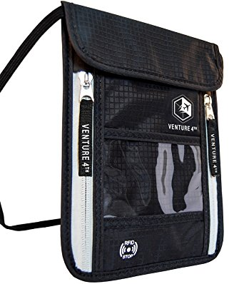 Venture 4th Passport Holder Neck Pouch With RFID Blocking The # 1 Travel Wallet (Black)