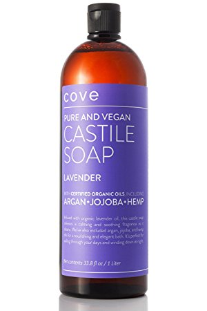 Cove Lavender Castile Soap 33.8 oz - Only Certified Organic, Vegan Ingredients with Argan, Jojoba, and Hemp Oils - Concentrated Liquid Soap - Made in the USA
