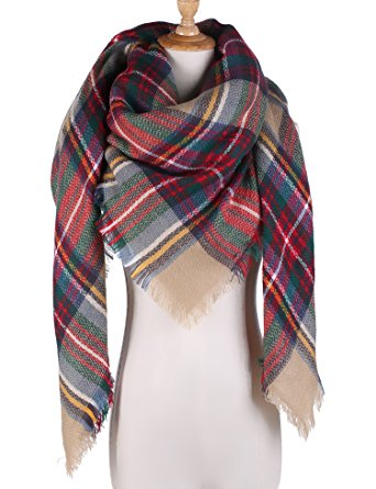 Large Tartan Blanket Scarf Warm Checked Plaid Shawl for Womens