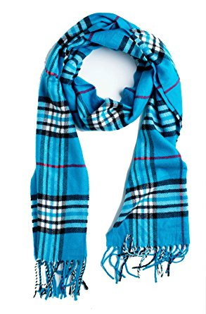 Plum Feathers Super Soft Luxurious Cashmere Winter Scarf (Aqua Plaid)