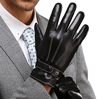 "Best Winter Mens Leather Gloves Made of Australia Lambskin,touch Screen/texting/drive/work/motorcycle Riding/cycling (S(8""), Black-touch Screen)"