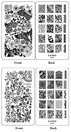 Ejiubas Double-Sided Nail Art Image Manicure Stamping Plates ** Wonders of Life ** Nail Art Stamp Collection 2 Count