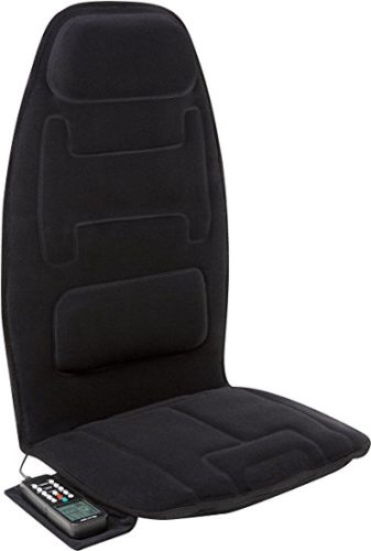 Relaxzen 60-2910P 10-Motor Massage Seat Cushion with Heat and Extra Foam, Black