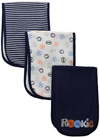 Gerber Baby Boys' 3 Pack Terry Burp Cloths, Sports, One Size