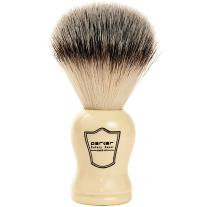 Parker Safety Razor SYNTHETIC Bristle Shaving Brush with Classic White Handle -- Brush Stand Included