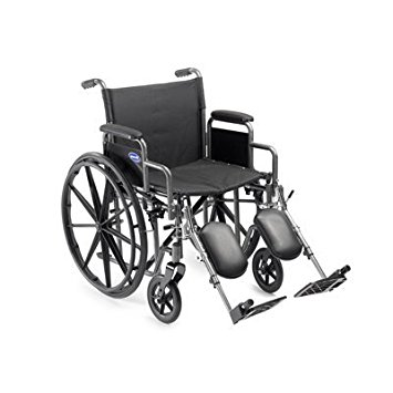 Self Transport Folding Wheelchair with Footrests, Solid Castors and Large Rolling Rear Wheels.