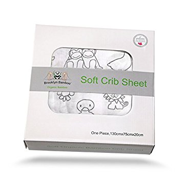 Brooklyn Bamboo Soft Hypoallergenic Organic Bamboo Crib Sheet, Animal Print