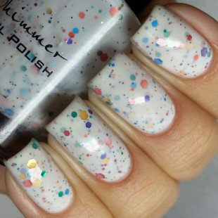 Oh Splat White Glitter Nail Polish with Rainbow Glitters- 0.5 oz Full Sized Bottle