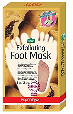 Purederm Exfoliating Foot Mask - Peels Away Calluses and Dead Skin in 2 Weeks! (3 Pack (3 Treatments), Regular)