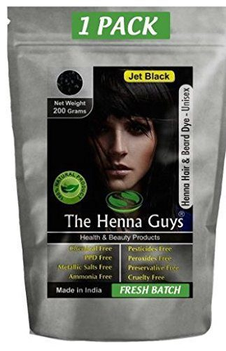 Jet Black Henna Hair & Beard Color / Dye 200 Grams (2 Step Process) - The Henna Guys