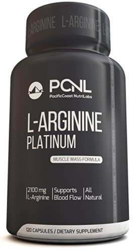 PacificCoast NutriLabs 2100mg L-Arginine, All-Natural Muscle Mass Formula, Free Ebook, 120 Capsules