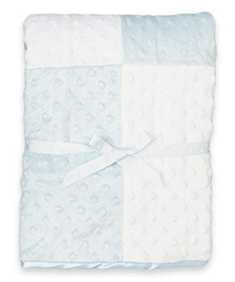 Spasilk Baby-Boys Newborn Minky Raised Dot Blanket with Satin Trim, Blue, 30 Inchx40 Inch