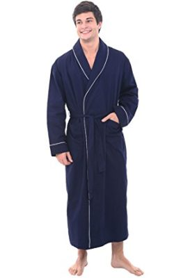 Del Rossa Men's Cotton Robe, Lightweight Woven Bathrobe, 2XL Navy Blue (A0715MBL2X)