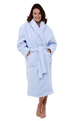 Del Rossa Women's Fleece Robe, Plush Microfiber Bathrobe, Small Medium Light Blue (A0302LBLMD)