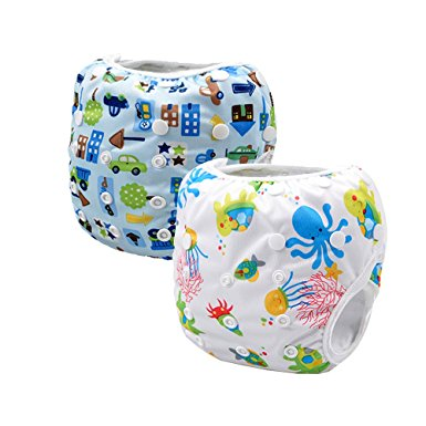 Storeofbaby 2pcs Baby Swim Cloth Diapers Reusable Adjustable for 0-36 Months (Pack of 2)