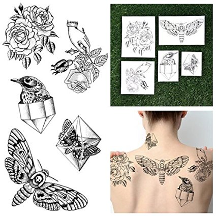 Tattify Hand Drawn Nature Temporary Tattoos - Pearlescent (Set of 10 Tattoos - 2 of each Style) - Individual Styles Available and Fashionable Temporary Tattoos