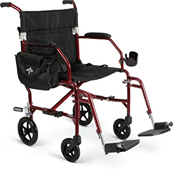 "Medline Ultralight Transport Chair, 19"" Wide Seat, Permanent Desk-Length Arms, Swing Away Footrests, Red Frame"
