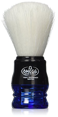 Omega Blue Handle Syntex Synthetic Fibre Shaving Brush Vegan Cruelty Free