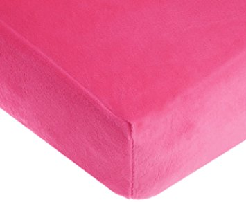 American Baby Company Heavenly Soft Chenille Fitted Crib Sheet, Hot Pink