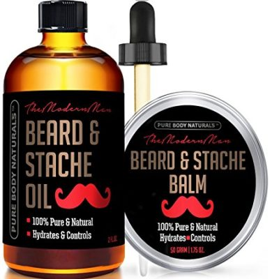 Beard Oil & Beard Balm Mens Gift Set ( 2 oz + 1.75 oz) Mustache Oil Beard Kit - Beard Conditioner ( Beard Oil - Argan & Apricot Oil ) ( Balm - Musk & Amber) by Pure Body Naturals