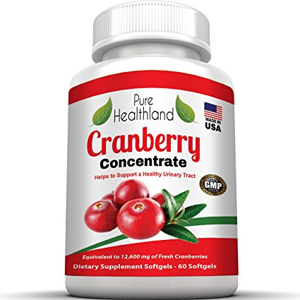 Cranberry Concentrate Supplements Pills for Urinary Tract Infection UTI. Equal To 12600 mg Pure Fresh Cranberries! Promote Kidney Urinary or Bladder Health for Men and Women. No More Cranberry Juice!