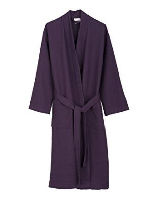 TowelSelections Turkish Waffle Bathrobe Kimono Spa Robe for Women and Men Small/Medium Loganberry