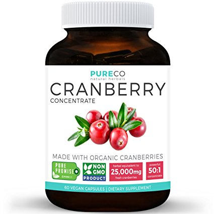 Organic Cranberry Concentrate - 25,000mg of Fresh Cranberries (Equivalent) | For Kidney Cleanse & Urinary Tract Health Support | UTI Vitamins | Fruit Extract Supplement | 60 Vegan Capsules | No Pills
