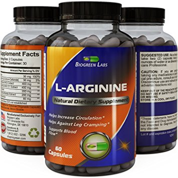 Purest L Arginine Supplement on the Market 60 Capsules - Boost Nitric Oxide Levels, Endurance & Full Time Energy Enhancement - Potent and Effective for Men, Women and Teens - Best L-Arginine