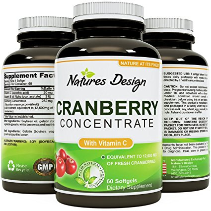 Cranberry Concentrate Pills - Urinary Tract Health Support & Kidney Cleanse with Proanthocyanidins - Pure Antioxidant Blend With Immune Support Vitamin C - Polyphenols - Supplement For Women And Men